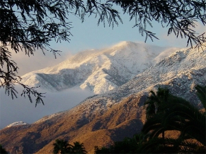 snowy mountains above palm springs, california